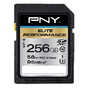 PNY Elite Performance 256 GB High Speed SDXC Class 10 UHS-I, U3 up to 95 MB/Sec Flash Card (P...