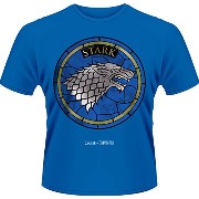 Game Of Thrones Stained Glass House Stark 公式 メンズ 新しい ブルー T Shirt