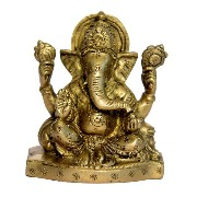 Brass Metal Seated Ganesha Statue with takiya and ( Pillow) with Flower Design by Bharat Haat...