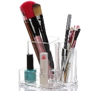 Linyuan Clear アクリル Cosmetic Brush Holder Makeup Storage Case with 3 Compartments