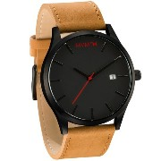 MVMT Watches Black Face with Tan Leather Strap Men's Watch 男性 メンズ 腕時計 【並行輸入品】