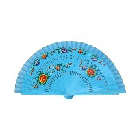 Wooden Hand Fan with Cloth on the Edge-blue