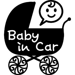 nc-smile Baby in car ステッカー ベビーカー Baby carriage pram stroller (ブラック)