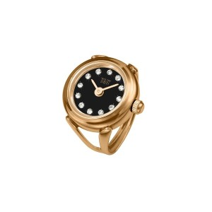 Davis 4160 レディースローズゴールドリングウォッチ Ladies RoseGold Ring watch Black Dial Swarovski stones Adjustable