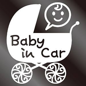 nc-smile Baby in car ステッカー ベビーカー Baby carriage pram stroller (ホワイト)
