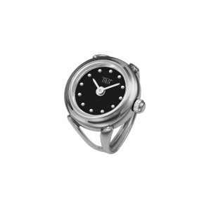 Davis 4189SW レディースローズゴールドリングウォッチ Ladies Ring watch Black Dial with Index Adjustable