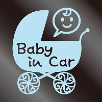 nc-smile Baby in car ステッカー ベビーカー Baby carriage (ミルキーブルー)