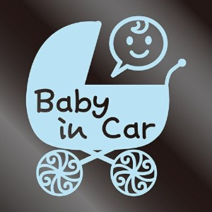nc-smile Baby in car ステッカー ベビーカー Baby carriage pram stroller (ミルキーブルー)