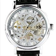 腕時計 KTC Winner Silver Case Skeleton Dial Hand-Wind Mechanical Movement Leather Strap Fashion Wrist...