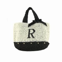 Initial イニシャル 柔らか カゴバッグ 大人ガーリー Paper Bag 【R】 Black