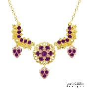 Flattering Necklace Designed by Lucia Costin with Leaf and Floral Elements, Violet Swarovski...