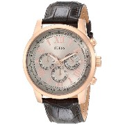 ゲス GUESS Men's U0380G4 Chronograph Brown Watch with Rose Gold-Tone Case & Genuine Leather [並行輸入品]