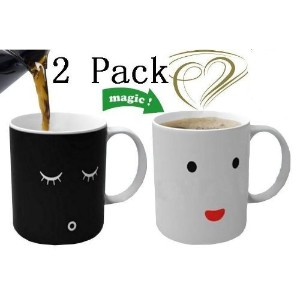 【並行輸入品】Magic Morning Mug Coffee Tea Milk Hot Cold Heat Sensitive Color-changing Mug Cupset of 2