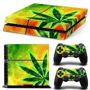 Sony PS4 Playstation 4 Skin Design Foils Faceplate Set - Cannabis 10 Design