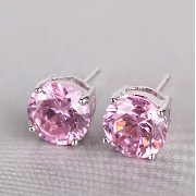 [cpa][c:0][b:8][s:0.16]Aida Misa Lovely romantic pink topaz earrings 18k white gold filled earing round cut nice lady stud...