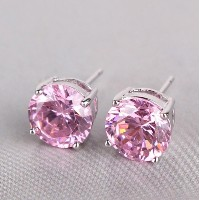 Aida Misa Lovely romantic pink topaz earrings 18k white gold filled earing round cut nice lady stud...