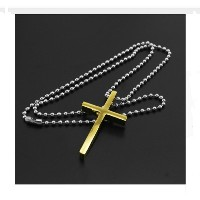 Jesus Cross Pendant Necklace for Men and women((Gold Plated Chain))
