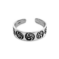 925 Sterling Silver Ying-Yang Toe Ring (Resizable)