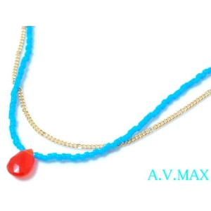 a.v.max エーヴィーマックスbeads teardrop necklace/carnelian