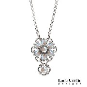 Lucia Costin Superb Flower Shaped Pendant Made of .925 Sterling Silver with White Swarovski...