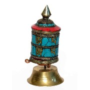 Made with Brass Metal Brass Metal Stone Fitting in Fine Collectible Nepali Prayer Wheel by Bharat...