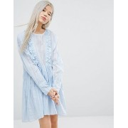 STYLENANDA Long Sleeve Smock Dress ドレス ワンピース With Woven Stripe And Ruffle Details