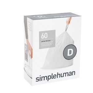 simplehuman code D custom fit liners 3 refill packs (60 liners), Code D - 20L / 5.2 Gallon, White ...