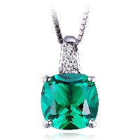 JewelryPalace 3.36ct クッション 5月 誕生石 人工 ナノ エメラルド ネックレス ペンダント スターリング シルバー 925...