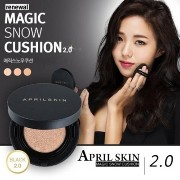 [April Skin]韓国クッション部門1位!NEW!!★Magic Snow Cushion Black 2.0★/w Gift Sample (#21 Light Beige) [並行輸入品]