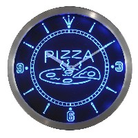LEDネオンクロック 壁掛け時計 nc0244-b OPEN Hot Pizza cafe Restaurant Neon Sign LED Wall Clock