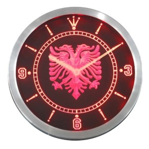 LEDネオンクロック 壁掛け時計 nc0400-r Albanian Eagle Bar Pub Neon Sign LED Wall Clock