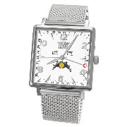 Davis-1731MB トリプル日付とムーンフェイズメンズスクエア腕時計 Mens Square triple date and Moonphase watch-White dial-Mesh...