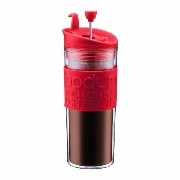 Bodum Insulated Plastic Travel French Press Coffee and Tea Mug, 0.45-Liter, 15-Ounce, Red [並行輸入品]