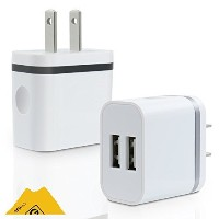 SEGMOI 5V/2.0Amp US Plug Dual USB Port 2 Ports Travel Wall Charger Easy Grip Home Power Adapter for...