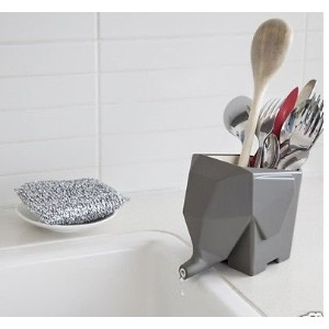 Gray Jumbo Cutlery Drainer Elephant Kitchen Bathroom Dish Holder Rack By Peleg Design by Dish Racks