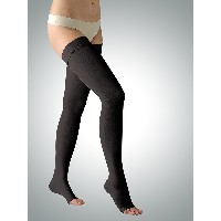23-32 mmHg Graduated Medical COMPRESSION STOCKINGS Open Toe, Class II Thigh High (L, black)