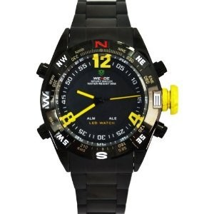 WEIDE Men's アナログ-digital Black Case Yellow Big Numberals & Hands LED Watch 男性用 メンズ 腕時計 (並行輸入)