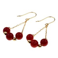 nadi 3.5-4.0mm K18PG 赤サンゴ ミラーボール チェーンピアス 18K Pink Gold (Rose Gold) Coral and Mirror Ball Chain...