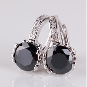 Aida Misa Classic gift 18k white gold plated leverback earrings round black crystal zircon lady...