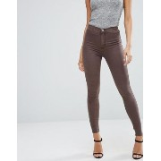 ASOS エイソス Rivington High Waist Denim Jeggings in Coffee Wash