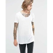 ASOS エイソス Super Longline T-Shirt Tシャツ In Linen Look With Step Hem And Scoop Neck