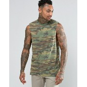 ASOS エイソス Longline Sleeveless T-Shirt Tシャツ With Camo カモフラ 迷彩 And Dropped Armhole