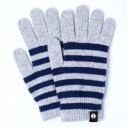 iTouch Gloves アイタッチグローブ Stripe タッチパネル対応 手袋 LightGrey×Navy iTG-012-LGY×NV/Lsize