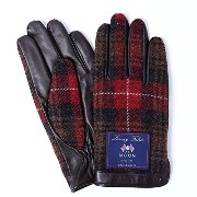 iTouch Gloves アイタッチグローブ MOON タッチパネル対応 レザー 手袋 Black×RedCHeck iTGL-M001-BR/Lsize
