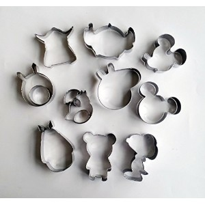 Yunko 10pcs Cartoon characters Cookie Cutter Stainless Steel Fondant Cutter set,peppa pig Snoopy...