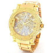Super Techno Diamond Watch Mens Genuine Diamond WatchオーバーサイズゴールドCaseメタルバンドW / 2 Interchangeable...