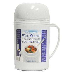 Brentwood RAZ05 Wide Mouth Glass Vacuum/Foam Insulated Food Thermos, 0.5-Liter by Brentwood