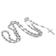 Stainless Steel Silver-Tone Beads Religious Cross Rosary Necklace Pendant