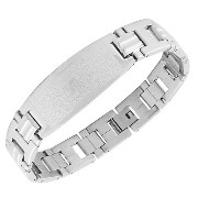 Stainless Steel Silver-Tone Religious Cross Lords Prayer Mens Chain Bracelet