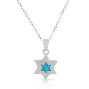 925 Sterling Silver Small Jewish Star of David Simulated Opal Turquoise-Tone Pendant Necklace